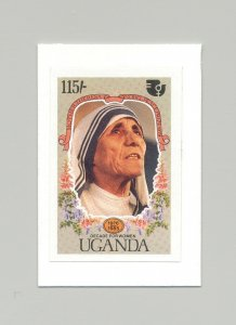 Uganda #465 UN Decade of Women, Mother Theresa 1v Imperf Proof on Card
