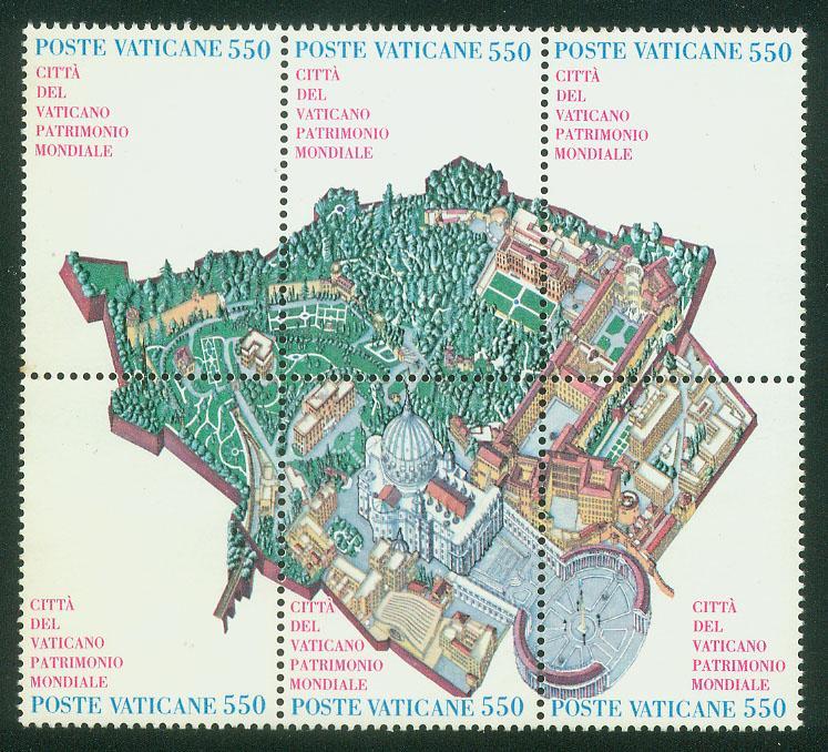 VATICAN 773, UNESCO WORLD HERITAGE, BLOCK OF 6. MINT, NH. F-VF. (43)