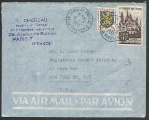 FRANCE 1953 Airmail cover to USA - nice franking...........................58117