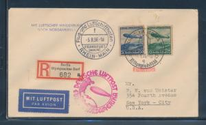 LZ129 HINDENBURG OLYMPIC FLIGHT COVER GERMANY TO NEW YORK CITY VF+ BU6363