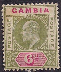 Gambia 1902 - 05 KEV11 6d Pale Green & Carmine MM SG 51 ( E15 )