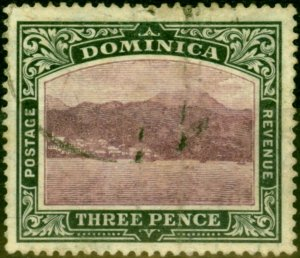 Dominica 1907 3d Dull Purple & Grey-Black SG41 Good Used