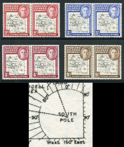Falkland Is Deps SG G3/7 Gap 8th Parallel and Break by 90o Set of 4 U/M