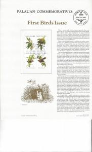 Palau Commemoratives Panel, First Birds Issue, Koror, FDC 1983