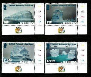 British Antarctic Territory BAT 2019 Icebergs 4v Set of Stamps unmounted mint