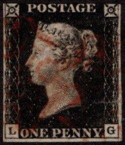GBR SC #1 U (L,G) P4 1840 Queen Victoria 3-margin w/flts CV $325.00