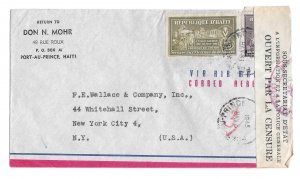 Haiti WWII Censored Airmail Cover 1945 Port au Prince to US RA6 Postal Tax Stamp
