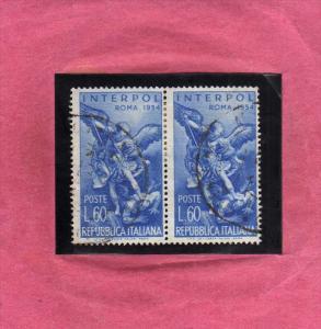 ITALIA REPUBBLICA ITALY REPUBLIC 1954 ASSEMBLEA GENERALE DELL´ INTERPOL LIRE...