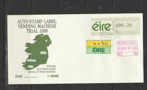 Eire FDC 1990 Auto Vending stamp Label machine trial, Unaddressed