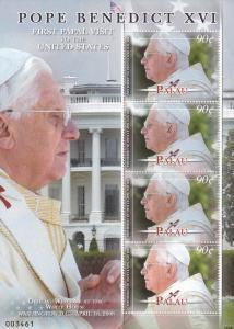 Palau # 938, Pope Bemedict XVI, Souvenir Sheet, NH