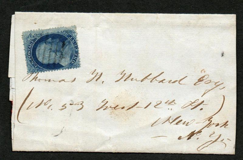 US Scott #22 Margin Copy on Cover, Drop Rate Letter NY