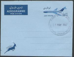 ABU DHABI 1967 40f aerogramme - first day cancel...........................52099
