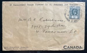 1931 Nuwara Eliya Ceylon Christian Mission Cover To Vancouver Canada