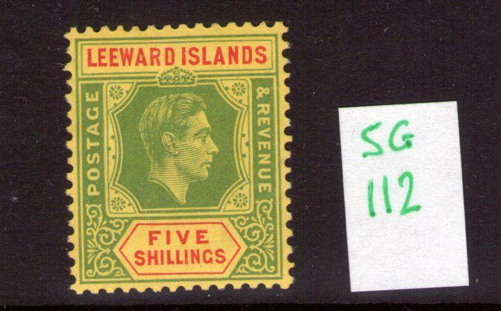 Leeward Islands George VI SG112 5/- ,single, multi-colour lightly hinged
