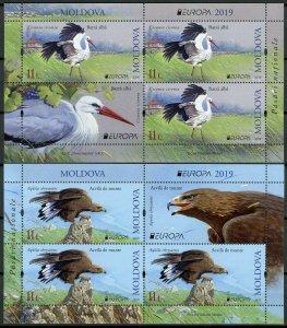 Moldova 2019 MNH Birds Europa Storks Golden Eagles 2x 3v M/S Booklet Stamps