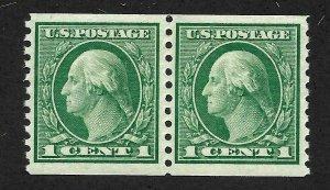 Doyle's_Stamps:  Crisp 1914 NH Green 1c VF Washington Coil Pair, Scott #452**