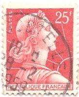 France 756 (used) 25f Marianne, rose red (1959)
