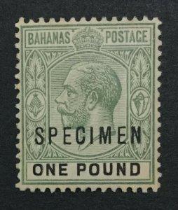 MOMEN: BAHAMAS SG #89s SPECIMEN 1912-19 MINT OG H LOT #191727-711