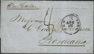 Transatlantic Ship Stampless Cover 1866 New York To Bordeaux France