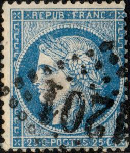 FRANCE - Yv.60A 25c (T.1) non planché, taches bleues - GC1201 (Coutances) - TB