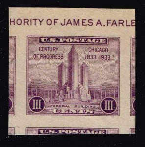 US STAMP #731A – 1933 3c Federal Building at Chicago, MNH