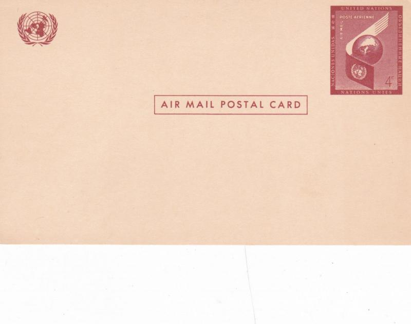 United Nations 4c Prepaid Airmail Postcard Unused VGC