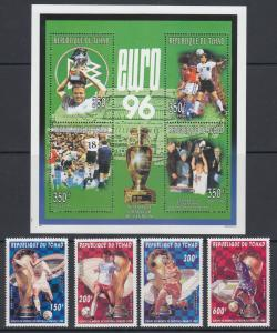 Chad Sc 675/685 MNH. 1996 World Cup & European Soccer Championships, 2 cplt sets