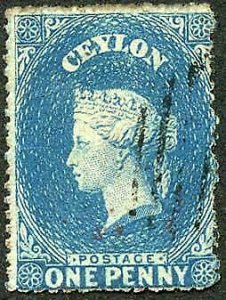 Ceylon SG28 1d blue wmk Star Rough Perf 14 to 15.5 Cat 13 pounds