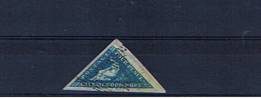 CAPE OF GOOD HOPE 4d BLUE TRIANGLE F/USED ON PIECE