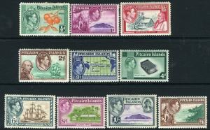 PITCAIRN ISLANDS-1940-51 Set to 2/6 Sg 1-8  MOUNTED MINT V13548