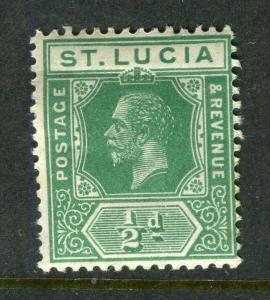 ST.LUCIA; 1912 early GV issue fine Mint hinged Shade of 1/2d. value
