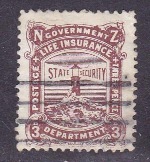 New Zealand 1891 3p Life Insurance 'Lighthouse'  Line Cancel VF+/(0)