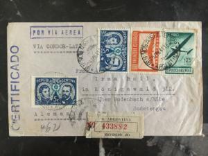 1941 Buenos Aires Argentina Censor Cover to Sudetengau Germany Condor LATI