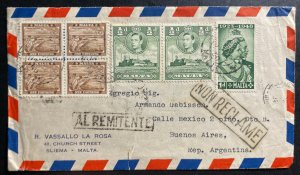 1950 Sliema Malta Airmail cover To Buenos Aires Argentina Silver Wedding Stamp
