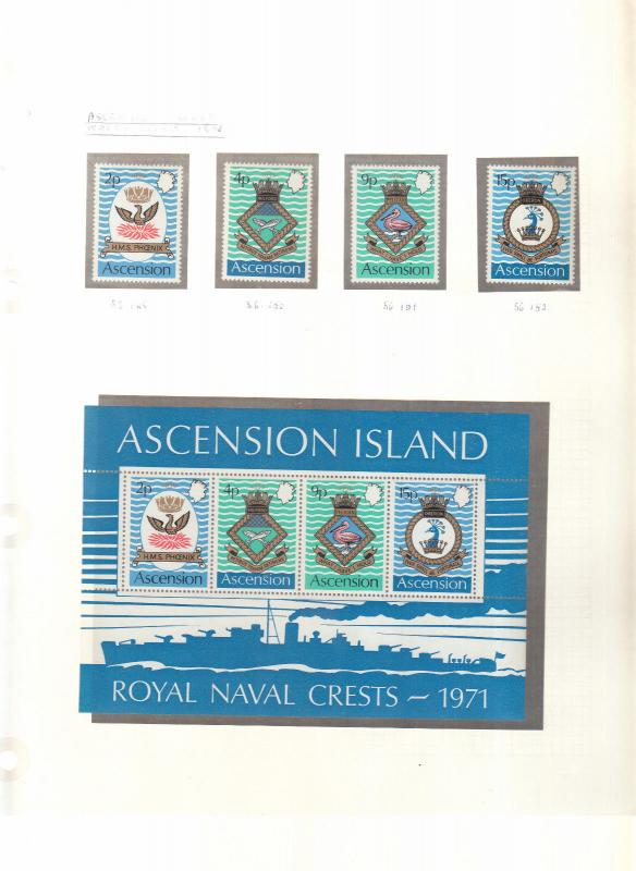 ASCENSION ISLANDS NAVAL CREST STAMPS AND MINI SHEET 3RD SERIES 1971