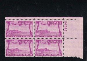 80c Diamond Head Airmail, Plate Block/4, Sc #C46, MNH (8193)