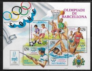 SAN MARINO,1266, HINGED, S.S OF 4, OLYMPIC GAMES '92 BARCELONA