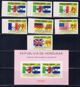 Honduras C429-35a NH 1968 Imperf Olympics set