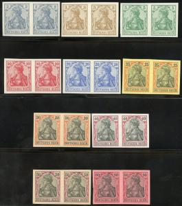 GERMANY GERMANIA SET COMPLETE SCOTT#65C/74 VARIETY MI#68U/77U IMPERF PAIRS NH