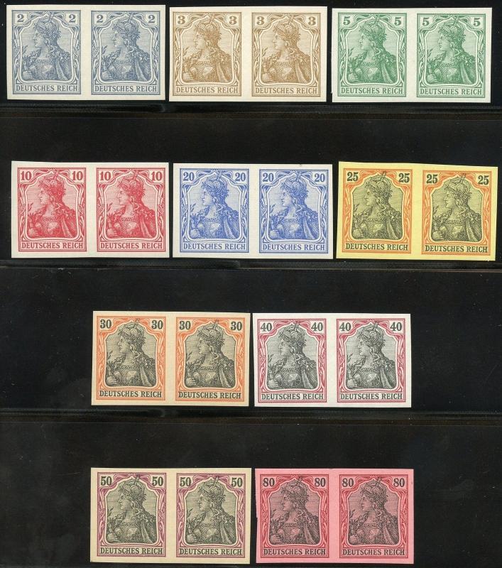 GERMANY GERMANIA SET COMPLETE SCOTT#65C/74 VARIETY MI#68U/77U IMPERF PAIRS NH