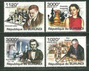 Burundi MNH 986-9 Chess Players 2011 SCV 12.50