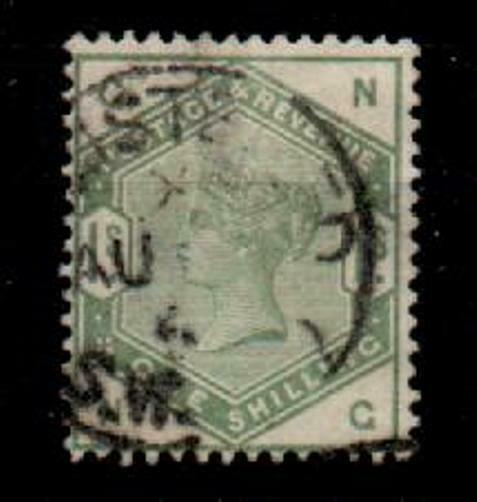 G.B. SG196 1883 1/= DULL GREEN USED