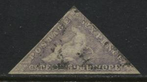 Cape Of Good Hope 1858 6d pale lilac used (JD)