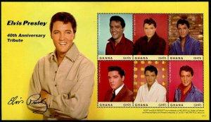 HERRICKSTAMP NEW ISSUES GHANA Sc.# 2940 Elvis Presley 40th Anniv. Sheetlet
