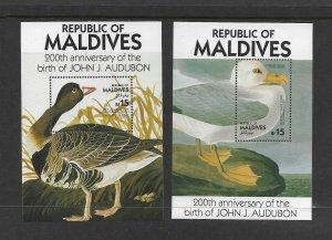 BIRDS - MALDIVES #1203-4  AUDUBON ANNIVERSARY  MNH