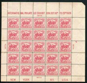 US 1926 SC# 630 WHITE PLAINS S/S STAMP SHEET VF MVLH  CV $300.00