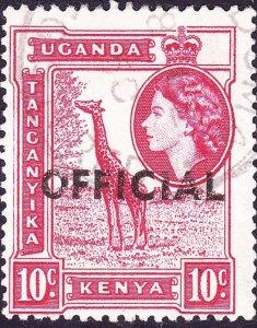 KENYA UGANDA TANGANYIKA 1959 QEII 10c Carmine-Red SGO2 FU