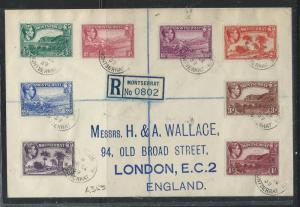 MONTSERRAT (P0612B) 1939 KGVI FIRST PERFS REG TO 1/- TO ENGLAND