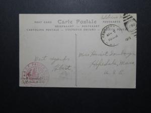 US 1919 A.E.F. Censored APO Card to USA - Z11298