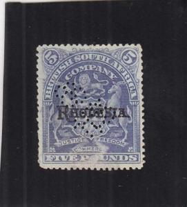 Rhodesia, Revenue Stamp, 5 Pound, Sc #26 Perfin Cancx (24832)